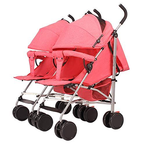 Poussetter Yhz@ Baby, Twin Trolley détachable, Pliage léger Peut s'asseoir et Se Coucher bébé Panier Portable Enfant Amortisseur Buggy Buggy (Couleur : Pink)
