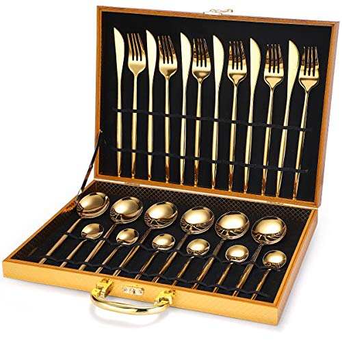 Stainless steel cutlery 24-piece set wooden box gift box Portuguese cutlery (Golden 24-piece set)