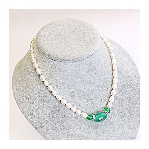 DDDCM Madre Utiliza Collar de Cuentas de Agua Dulce para Enviar Accesorios Femeninos de Regalo de la Madre de Alto Nivel de Mediana Edad y Ancianos. (Color : Pendant Green)