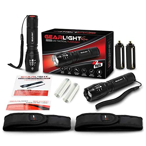 GearLight LED Tactical Flashlight S1000 [2 Pack] - High Lumen, Zoomable, 5 Modes, Water Resistant Light - Camping… 3