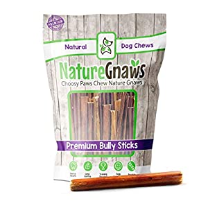 Nature Gnaws Bully Sticks for Dogs – Premium Natural Tasty Beef Bones – Simple Long Lasting Dog Chew Treats – Rawhide Free – 6 Inch