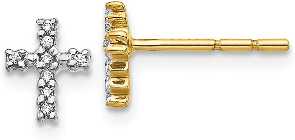 14k Yellow Gold Diamond Cross Religious Post Stud Earrings Fine Jewelry For Women Gifts For Her