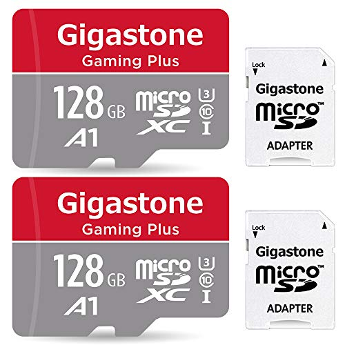 Gigastone 128GB 2er-Pack Micro SD-Karte, Gaming Plus, Nintendo Switch kompatibel, 100MB/s Hochgeschwindigkeit, 4K Videoaufnahme, Micro SDXC UHS-I A1 Klasse 10