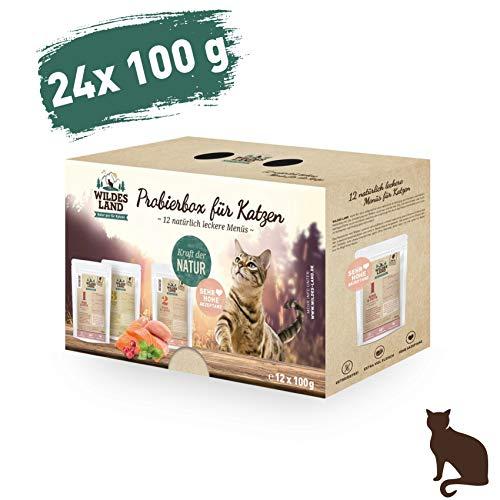 Wildes Land | Nassfutter für Katzen | Mix | 24 x 100 g | Getreidefrei | Extra viel Fleisch | Beste Akzeptanz und Verträglichkeit