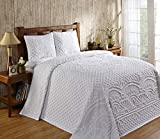 Better Trends Trevor Collection is Super Soft and Light Weight in Medallion Design 100% Cotton Tufted Unique Luxurious Machine Washable Tumble Dry, Queen Bedspread Set, White