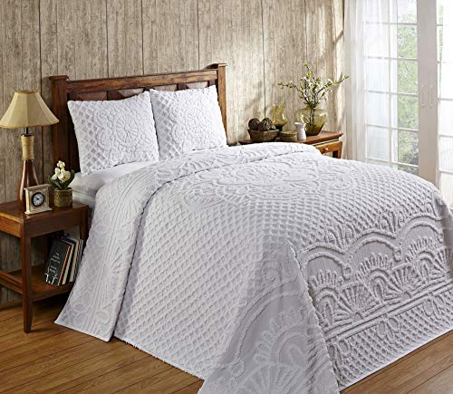Better Trends Trevor Collection in Geometric Design 100% Cotton Tufted Chenille, Queen Bedspread Set, White