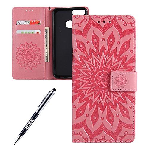 Kompatibel mit Xiaomi Mi A1 Hülle,JAWSEU Sonnenblume Schutzhülle Brieftasche Hülle Leder Tasche Handyhülle LederHülle Flip Hülle Wallet Tasche Handytasche für Xiaomi Mi A1,Mandala Rosa