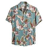 Litetao 3XL Blue 276436 (Men Summer Swim Shirt Spread Collar Button Down Floral Shirts Beachwear Shirt Hawaiian Shirts Costumes)