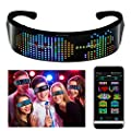 efiealls LED Bluetooth Glasses, Full Color LED Smart Glasses with APP Connected Control DIY/Text/Graffiti/Animation/Rhythm, USB Charging LED Glasses for Party Christmas New Year Thanksgiving Day Gifts