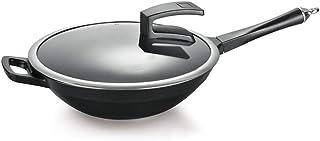 YWYW Wok Wok à Fond Plat 32cm Wok Poêle de Haute qualité Poêle antiadhésive Poêle sans fumée 32x9.5cm Grand Wok sans Fil à...