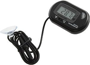 Mini Acuario Negro pecera Agua Sumergible Impermeable LCD Digital termómetro pequeño Sensor con Cable (Negro) ESjasnyfall
