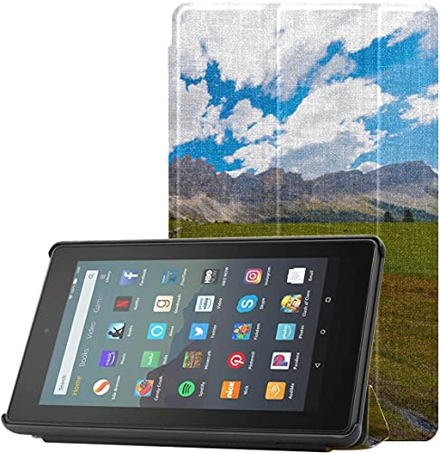 Funda para Tableta para niñas Adolescentes The Beautiful Alps At Sunset Kindle Fire 7 Generation Funda para Tableta Fire 7 (novena generación, versión 2019) Ligera con Reposo automático/activación