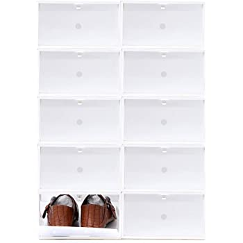 Sinbide 10 * Cajas para Zapatos Transparente Plástico, Cajas de Zapatos para Hombres y Mujeres, Organizador de Zapatos, Impermeable, Ahorra Espacio, Casa, Hogar, 34 * 22 * 13cm (Blanco): Amazon.es: Hogar