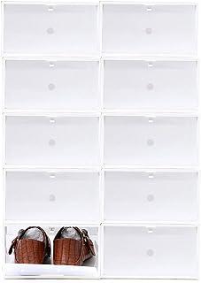 Sinbide 10 x Cajas de Zapatos Transparente Plástico, Organizador de Zapatos para Hombres y Mujeres, Impermeable, Ahorro de...