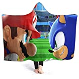 QIAOQIAOLO Super Mario Manta con capucha de forro polar Mario vs Sonic Tennis Microplush, Funcional para niños 60 x 50 pulgadas