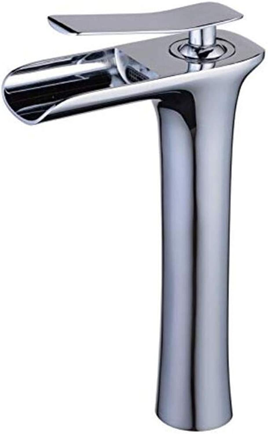 Basin Mixer Sink Taps Single Handle Waterfall Spout Tall Bathroom Sink Tap Polished Chrome Finish