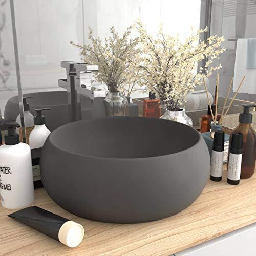 UnfadeMemory Lavabo de Baño de Cerámica Redondo,Lavabo sobre Encimera,Diseño, Mueble,400x150mm (Gris Oscuro Mate)