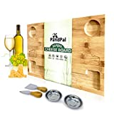Bamboo Cheese Board Set & Food Serving Tray - BONUS Stainless Steel KNIVES & BOWLS, Extra LARGE...