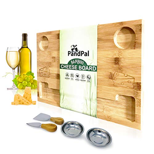 Bamboo Cheese Board Set & Food Serving Tray - BONUS Stainless Steel KNIVES & BOWLS, Extra LARGE [16x11x1] Wooden Cutting Board Charcuterie Platter for Wine, Cracker, Brie, Meat, Dip, Chip by PandPal