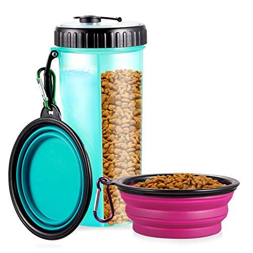 WOMGF Hund Trinkflasche mit 2er Faltschüsseln Haustier Wasserflasche 2-in-1 Futterbehälter und Trinkwasserflasche für Resie Unterwegs 400ML(Blau)