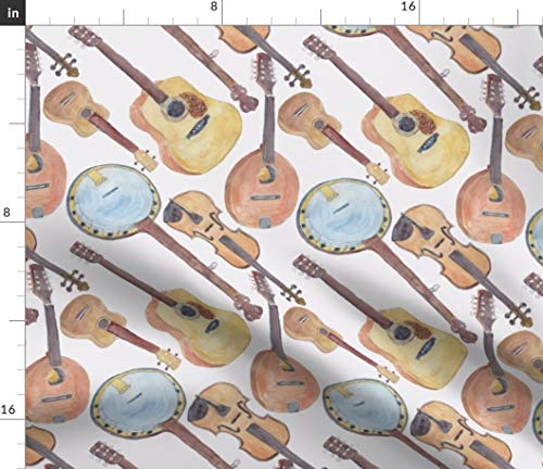 Spoonflower Fabric - Strings Violin Instruments Guitar Ukulele Printed on Petal Signature Cotton Fabric by The Yard - Sewing Quilting Apparel Crafts Decor