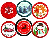 Christmas Cookie Containers With Lids 9 Inch Plastic - Set of 4 - Designs Will Vary