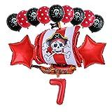 Xx101 Globo 13 unids/Set Pirate Boat Balloons 2.8g Skull Latex Globos 32'Número Globo cumpleaños Tema Fiesta decoración de Boda Suministros (Color : Dark Khaki)