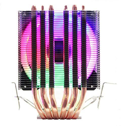CPU Cooler 6 Tuberías de Calor Dual-Torre Enfriamiento 9cm RGB Fan Ventilador LED Soporte de Ventilador 3 Ventiladores 3Pin CPU Fan para AMD y para Intel (Blade Color : 1 Fan LED 4pin)