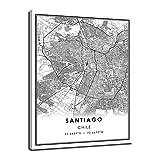 LTGBQNM Santiago Chile Mapa Imprimir Cartel Lienzo |Santiago Chile City Mapa Imprimir Cartel Lienzo 20x28inch Sin Marco
