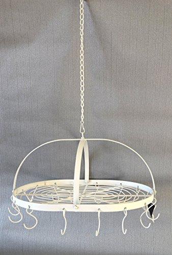 HKC Home Deco Deckenkranz zum Hängen Kranz oval weiß 16 Haken Metall Landhaus Shabby Deko ca. 36cm x 25cm