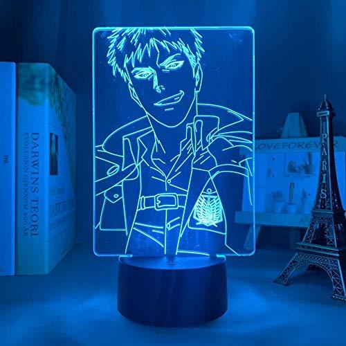 Lámpara LED de ilusión 3D de Attack on Titan de 16 colores, con mando a distancia, carga USB, decoración de dormitorio infantil, luz nocturna.