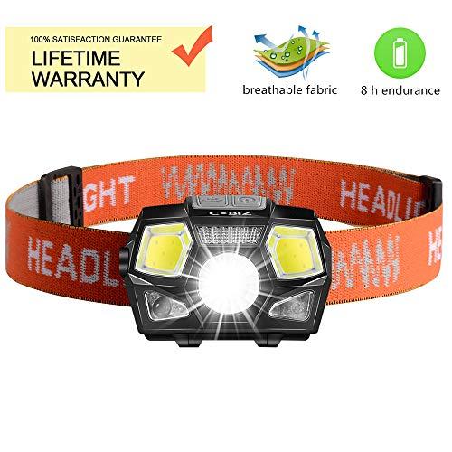 Cobiz Linterna Frontal LED USB Recargable Super Bright Headlights 500 Lúmenes, 5 Modos de Iluminación, Blanco y Rojo LED, Waterproof Hard Hat Ligh Ideal para Acampar, Correr, Caminar y Leer