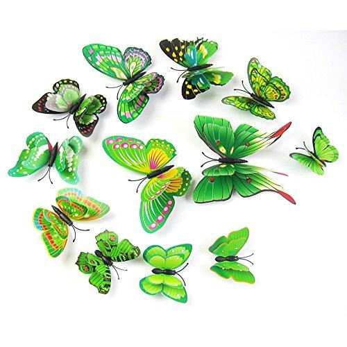 malloom 12x 3D Schmetterling Kinderzimmer Wandtattoo Magnet Kühlschrank Dekor selbstklebend angewendet, Vert 1, 12 cm (x2), 10 cm (x2), 8cm (4pcs), 6cm (4pcs)