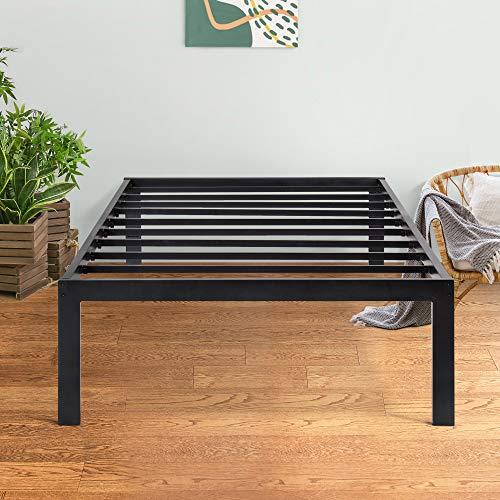 PrimaSleep 18 Inch Tall Metal Bed Frame/Dura Steel Slat/Anti-Slip Support/No Box Spring Needed Black/Twin,