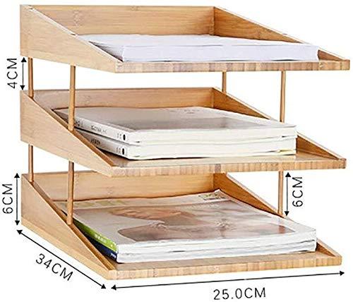 Assembledstorage Box Kantoor briefpapier Opslag Desktop Folder Data Plank Bamboe Hout Kwaliteit Lak Behandeling Natuurlijke Bamboe - 25x34x26cm Opbergdoos