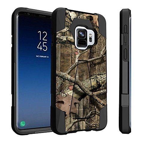 Untouchble Compatible with Samsung Galaxy S9, S9 Case [Traveler Series] Shockproof Hybrid 2 Layer Case Kickstand Case - Real Hunter Camo
