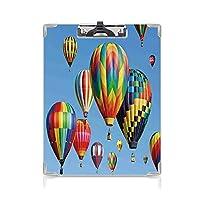 キングジム:クリップボード カラー A4判タテ型 カラフルな家の装飾 会議資料など挟 空飛ぶ旅のノスタルジックな熱気球楽しい冒険の趣味のテーマブルー