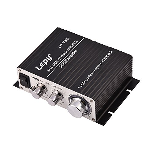 fosa Mini Audio Amplifier, Portable Dual Channel HiFi Stereo Auto Car Audio Power Amplifier,Support all kinds of audio input, such as mobile phones, DVD players, computers, MP3/MP4(Black)