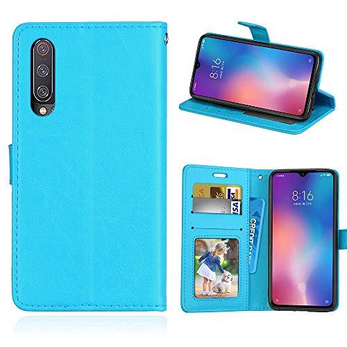 HOUSIM Capa Compatível com Xiaomi Mi 9Se, Cor sólida Couro PU Capa Magnético Protetora com Flip [Porta-Cartão] Capa de proteção à prova de choque - HODKS034161MFN Azul