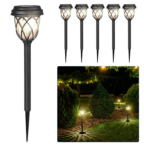Solar Lights Outdoor - CMCQ 6 Pack Solar Pathway Lights Outdoor Solar Powered LED Landscape Garden Lighting Waterproof Auto ON/Off with Ground Stake for Yard Patio Lawn (Warm White)