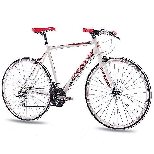 CHRISSON 28 Zoll Rennrad Fitnessrad AIRWICK Weiss rot 56 cm mit 24 Gang Shimano Acera Schaltung, Urban Fahrrad für Damen und Herren, Road Bike