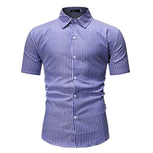 Camisa Hombre A Rayas Básica Verano Hombre Manga Corta Ajustada Elástica Clásica Hombre Urbana Moderna Informal Negocios Camisa Henley Hombre F-Blue2 M