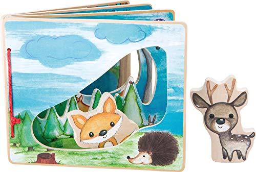 small foot 10073 Livre d'images, jeu interactif en bois, le premier livre d'images pour petits enfants de 12 mois et plus
