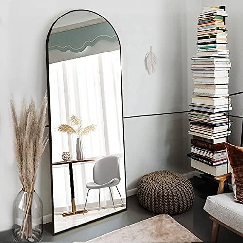 OGCAU Floor Mirror, Full Length Mirror Standing Hanging or Leaning Against Wall, Body Mirror for Floor & Wall in Bedroom, Arched-Top Mirror, Wall-Mounted Mirror with Aluminum Alloy Frame (Blcak)