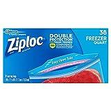 Ziploc Freezer Bags Value Pack, Quart Size, 38 ct