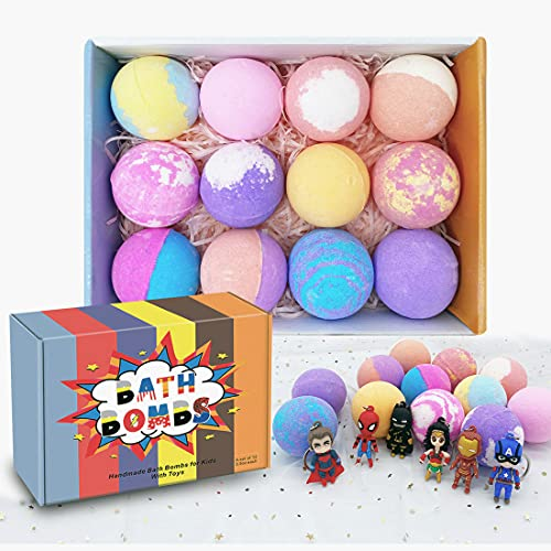 3.5OZ Bath Bombs Gift Set for Kids/Women , Relaxing & Organic Essential Oil 12 Colorful Fizzy Bubble 6 Hero Toys with Keychain(Not Inside) Christmas /Birthday Gift for Kids Girls or Boys
