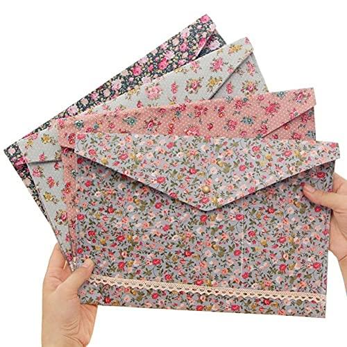 Zonster File File Cartella Dots Dots Flower A4 Documenti Borsa File con Pulsante Snap per Scuola