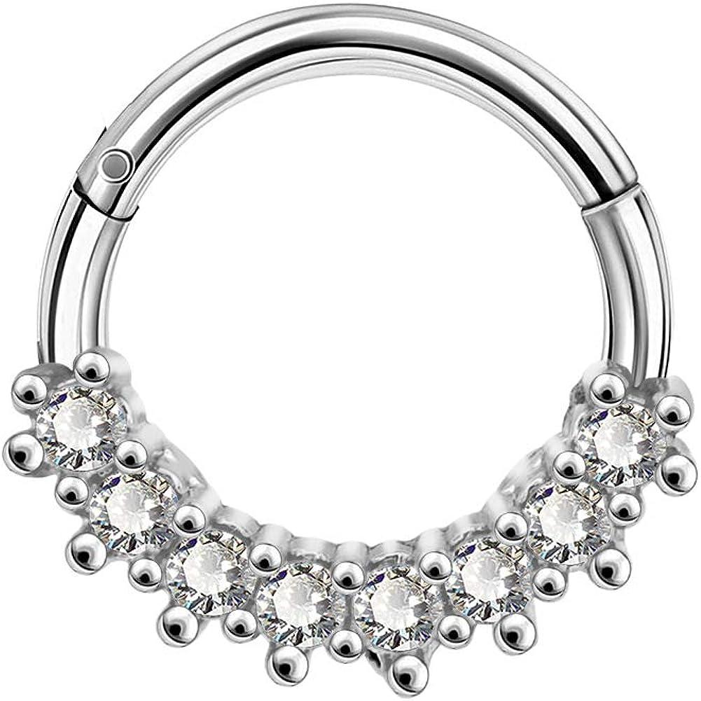 OUFER 16G 316L Surgical Steel Daith Earrings Clear CZ Line Helix Earrings Hoop Rook Tragus Cartilage Earring Hoop Hinged Segment Clicker for Women