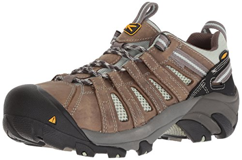 KEEN Utility Women's Flint Low Work Boot,Drizzle/Surf Spray,7.5 W US