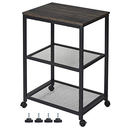 Kicode Baker's Rack, Standing Kitchen Microwave Cart 3-Tier Kitchen Utility Cart with 2 Tier Metal Wire Rack, Storage Organizer for Living Room Kitchen Bathroom, 31.8'' H x 15.8'' W x 23.6'' L